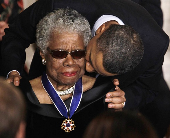 Maya Angelou receives 2010 Medal of Freedom/AP File Photo, Charles Dharapak