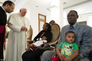 Meriam Ibrahim with the Pope