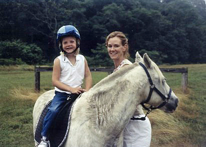 Sukey Forbes and Charlotte on horseback