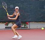 Cici Bellis loads up to hit a forehand   Photo: John Togasaki/Jared Preston via Wikimedia