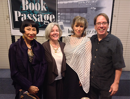 Author Amy Tan (l), Elaine Petrocelli, President of Book Passage, author Susanne Pari and Sam Barry, husband of Kathi Kamen Goldmark