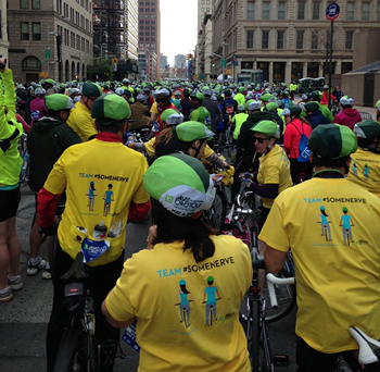 Members of Team Some Nerve at the start wearing their Some Nerve riding jerseys