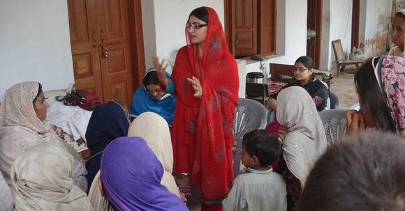 Gulalai Ismail at a community meeting