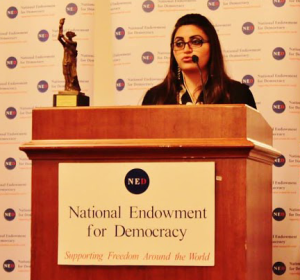 Gulalai Ismail speaking at Naional Endowment for Democracy
