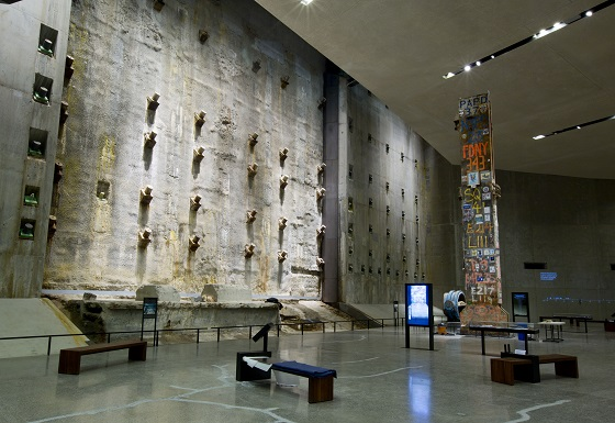 Last Column and Slurry Wall in Foundation Hall area 9/11 Museum/Photo: Jin Lee