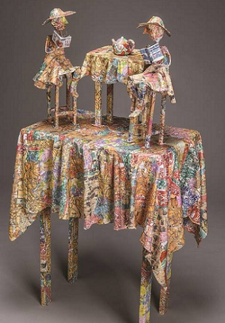 Kathy Ross tea table mixed media