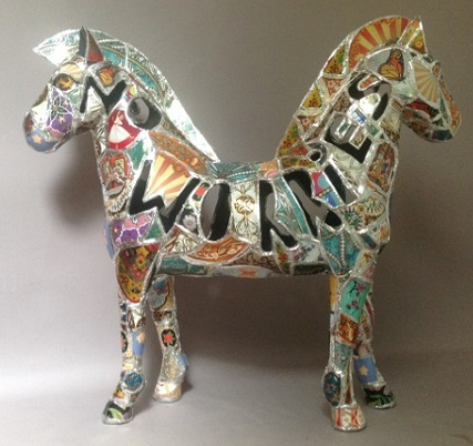 "Kthy Ross ""No Worries"" horse/mixed media"