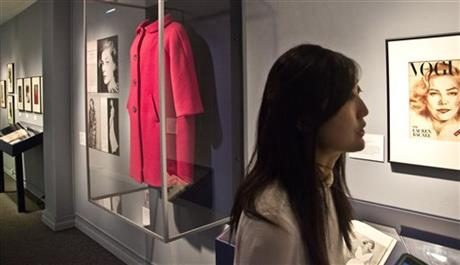 View of FIT Exhibit at press preview of Lauren Bacall: The Look with curator Mindy Meissen -The Look/bigstory.ap.org