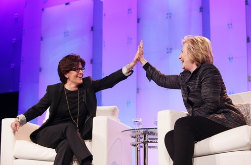 Hillary Clinton and Kara Swisher at Lead on Conference Silicon Valley, Feb. 24, 2015--Getty Photo