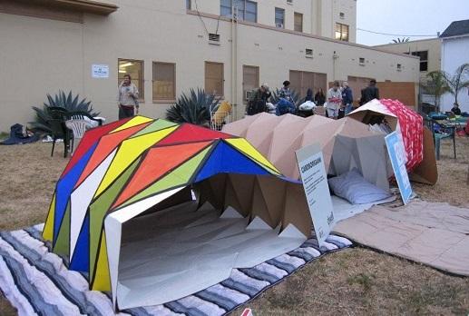 Cardboragami shelters at Venice Sleep Out