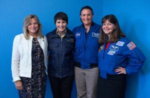 NASA scientist Ellen Stofan/astronauts S. Cristoforetti/Serena Aunon/Cady Coleman/Photo: J. Tsuboike/NPR