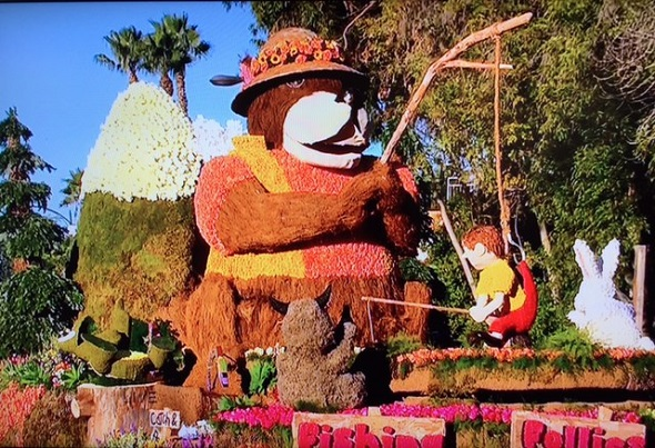 Fishing Follies float at 2016 Rose Bowl Parade/Photo: NBC Screenshot