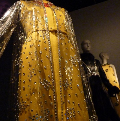 Yellow wool dress by Oscar de la Renta with plastic and crystal covered coat/Photo: Wendy Verlaine