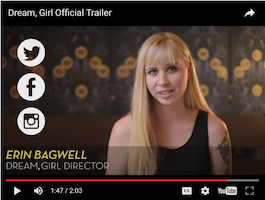 """Screenshot from """"Dream Girl"""" movie trailer showing Erin Bagwell, producer and editor. From Forbes.com"""