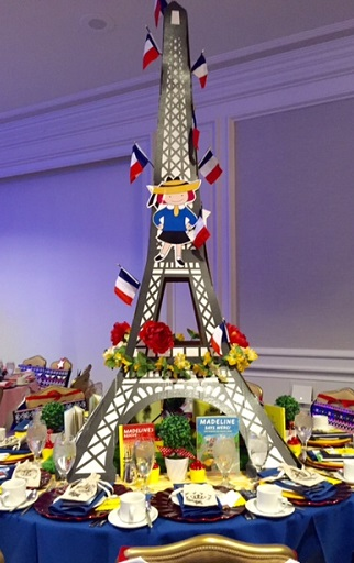 Eiffel Tower Table at Lauren Daniels Fairytale Tea 4/16/Photo: P. Burke