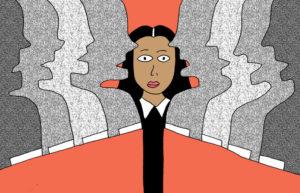 Illustration by Malaka Gharib on #AllMalePanels/NPR