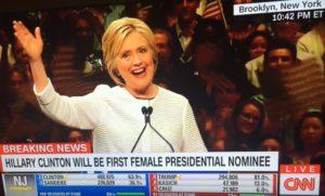 Hillary Clinton wins Dem nomination 6/7/16/Photo: CNN Screenshot