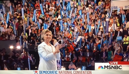 Hillary Clinton's Big Night, 7/28/16--Photo: Screenshot
