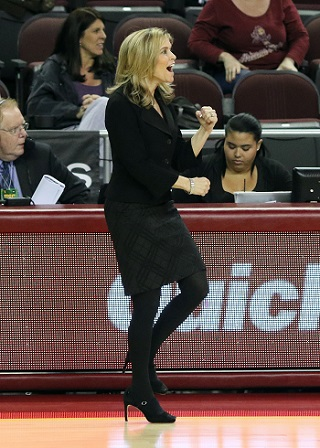 Charli Turner Thorne coaching ASU Women's Basketball Team/Photo: Sun Devil Athletics