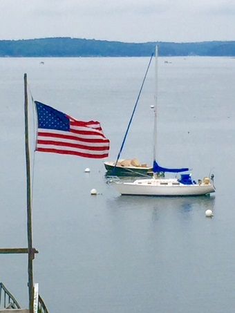 Sailboat in front of friend's house near Damariscotta, Maine/Photo: P. Burke