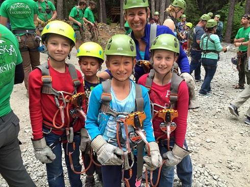 Michelle Steinke-Baumgard ziplining with her children in Alaska/Photo Courtesy Michelle Steinke-Baumgard