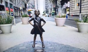 """Defiant Girl"" statue on Wall Street/photo: CBS Screenshot"