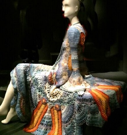 Summer of Love exhibit deYoung Museum-Girgita Bjerke: Crochet wool wedding dress 1972