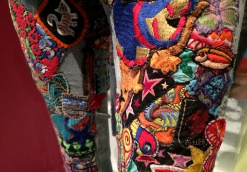 DetailJacky Sarti customized landlubber jeans...denim with cotton patches, ribbons. Made for Peter Kaukomen of Black Kangaroo