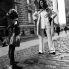 Kristen Visbal with her sculpture Fearless Girl/Photo: provided by Kristen Visbal