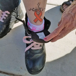 Photo of Las Vegas first responder, Kitt York's Route 91 tattoo | Photo: Stacey Gualandi