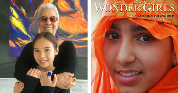 Documentary Photographer Paola Gianturco with Co-Author and granddaughter, Alex Sangster with their book, Wonder Girls: Changing Our World
