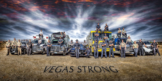 "Photo: ""Vegas Strong"" photo of Las Vegas First Responders 