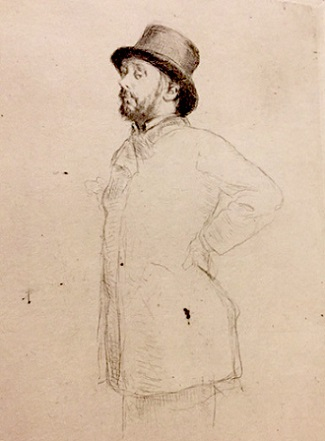 Sketch of Degas in Top Hat/Legion of Honor Museum, SF/Aug. 2017