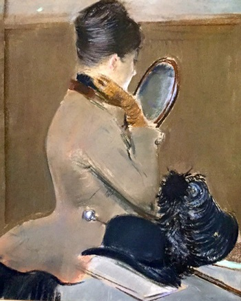 Woman at dressing table with riding hat and outfit at Legion of Honor Degas exhibit, SF/Photo: Courtesy Wendy Verlaine