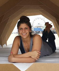 twe-radio-tina-hovsepian-in-shelter | Tina Hovsepian in Cardborigami Shelter | The Women's Eye Magazine and Radio Show