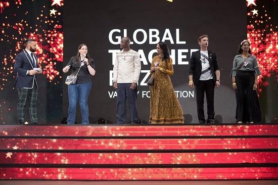 Melissa Salguero, 2019 Finalist for World Teacher of the Year, in Dubai rehearsing for event/Photo: Global Teacher Prize