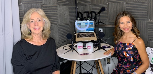 Catherines Scrivano Anaya recording podcast at CoHoots, Phoenix, Az.