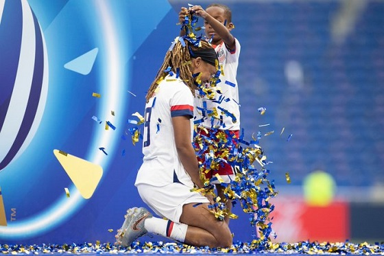 Jessica celebrating with son Jeremiah after World Cup victory
