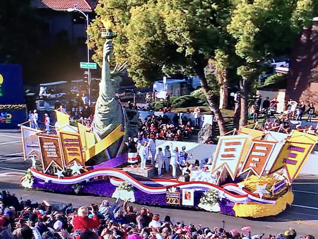 Rose Bowl Parade 2019 Years of Hope, Years of Courage float honoring 100th year anniversary of Women's Right to Vote