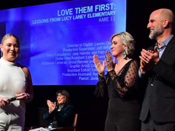 Lindsey Seavert and Ben Gavin co-directors of Love Them First documentary with 2020 duPont winner Mauri Melander Friestleben | Photo: Joaquim Moreira Salles